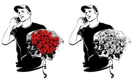 Guy with a bouquet of roses. Graphic drawing of a young guy with a bouquet of roses. The guy is talking on the phone. Vector illustration, isolated objects Stock Illustration