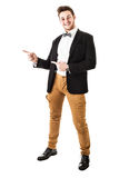 Guy with bow tie pointing Stock Photo