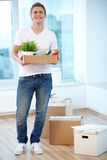 Guy with boxes Stock Photo