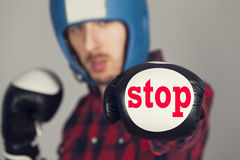 The guy in Boxing gloves that says stop Royalty Free Stock Photos