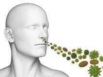 Guy breathing pollen. 3d rendered illustration of a guy breathing pollen Stock Photo