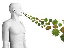 Guy breathing pollen. 3d rendered illustration of a guy breathing pollen Royalty Free Stock Photography