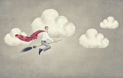Guy on broom Royalty Free Stock Photography