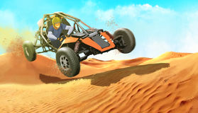 The guy on the buggy in the desert Stock Image