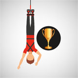 Guy bungee jumper rope trophy sport design. Vector illustration eps 10 Royalty Free Stock Photo