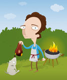 Guy burning his meat on the barbecue Royalty Free Stock Images