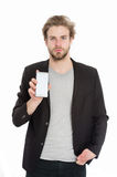 Guy or businessman with mobile phone isolated on white Royalty Free Stock Image