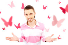 Guy with butterflies Stock Photos