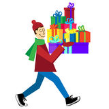 Guy buying presents and gift boxes. Flat vector Greeting Card illustration on white background with guy buying presents and gift boxes for Christmas holidays or stock illustration