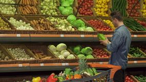 Guy buys napa cabbage at the supermarket. Attractive blond guy buying napa cabbage at the supermarket. Handsome caucasian man coming close to his shopping cart royalty free stock images
