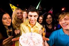 Guy with cake Stock Photo