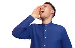 The guy is calling someone Stock Image