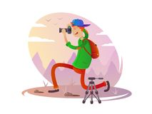 Guy with camera taking pictures Stock Photo
