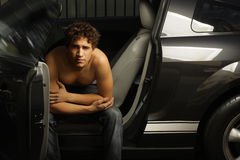 Guy in car Royalty Free Stock Photography