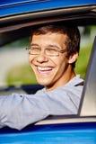 Guy in car closeup Royalty Free Stock Image