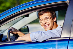 Guy in car closeup Stock Photo