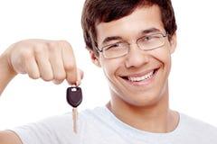 Guy with car keys closeup Stock Image
