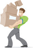 Guy carrying boxes. vector illustration
