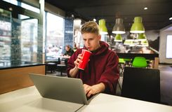 Guy in casual clothing works in a cafe on a laptop, focuses on looking at the screen and drinks a drink from the glass stock photography