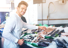 Guy in casual selecting cooled fish at fishery Royalty Free Stock Images