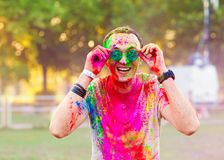 Guy celebrate holi festival. Fun on holiday royalty free stock images