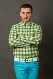 Guy in a checkered shir Stock Image