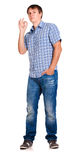 Guy in a checkered shirt, isolated Royalty Free Stock Photos