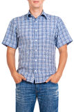 Guy in a checkered shirt, isolated on white Stock Photography
