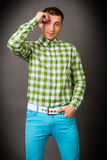 Guy in a checkered shirt Royalty Free Stock Image