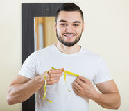 Guy checking fitness results Stock Photography