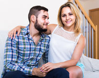 Guy and cheerful pretty girl smiling indoors Stock Photo