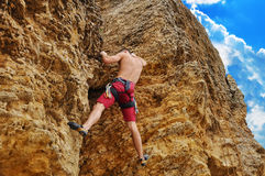 Guy climbing Royalty Free Stock Image
