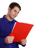 Guy with clipboard Royalty Free Stock Photo