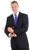 Guy with clipboard and a pencil Royalty Free Stock Photo