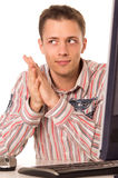 Guy at computer Stock Photography