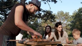 Fun picnic with friends in the forest with grilled meat and a guitar. stock footage