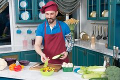 Guy cooking vegetable salad with red cabbage and zucchini in yellow plate. Tattooed guy in apron and cap cooking salad. Royalty Free Stock Photo