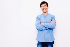 Guy with crossed arms on his chest Royalty Free Stock Photography