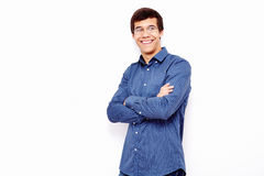 Guy with crossed arms over white Royalty Free Stock Photography