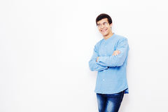 Guy with crossed arms over white Royalty Free Stock Photo