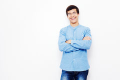 Guy with crossed arms over white Stock Image