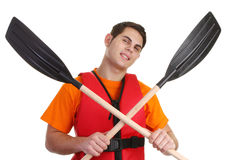 A guy with crossed oars Royalty Free Stock Image