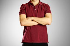 The guy in the dark red blank t-shirt Polo. Prepared for your lo. Go Royalty Free Stock Photography