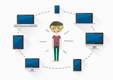 Guy with different gadgets. On white background Royalty Free Stock Images