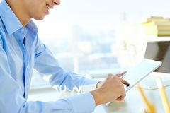 Guy with a digital tablet Royalty Free Stock Photo