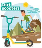 Dirt Scooter illustration. Guy with a dirt scooter riding down the hill off trail Royalty Free Stock Photo