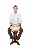 Guy with the djembe Stock Images