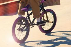 Jumping on a Bicycle stock image