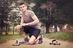 Guy doing fitness outdoors Stock Image