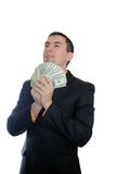 Guy with dollars in a suit Royalty Free Stock Photo
